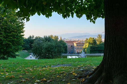Boboli gardens, view of Florence cityscape, Italy