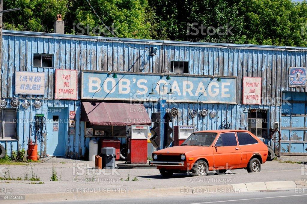 Bob's Garage a fictional TV auto-shop featured in Schitt's Creek stock photo