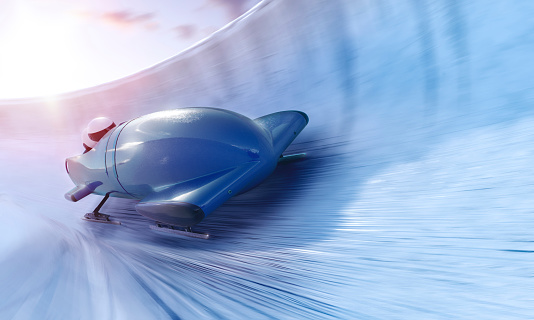Bobsleigh team is riding on a high speed in a turn - full 3D