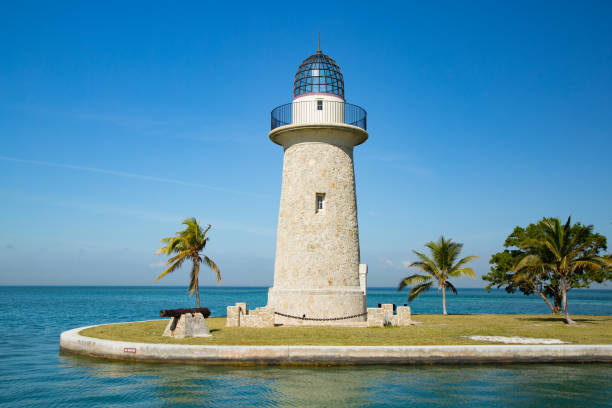 Boca Chita Lighthouse in Biscayne Bay Florida USA. stock photo