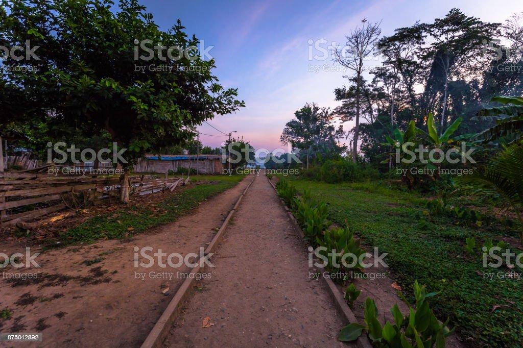 Manu National Park, Peru - August 08, 2017: Boca Manu village in the Amazon rainforest of Manu National Park, Peru stock photo