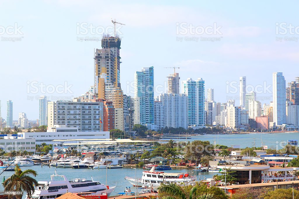 Bocagrande and cartagena port view from city center. stock photo