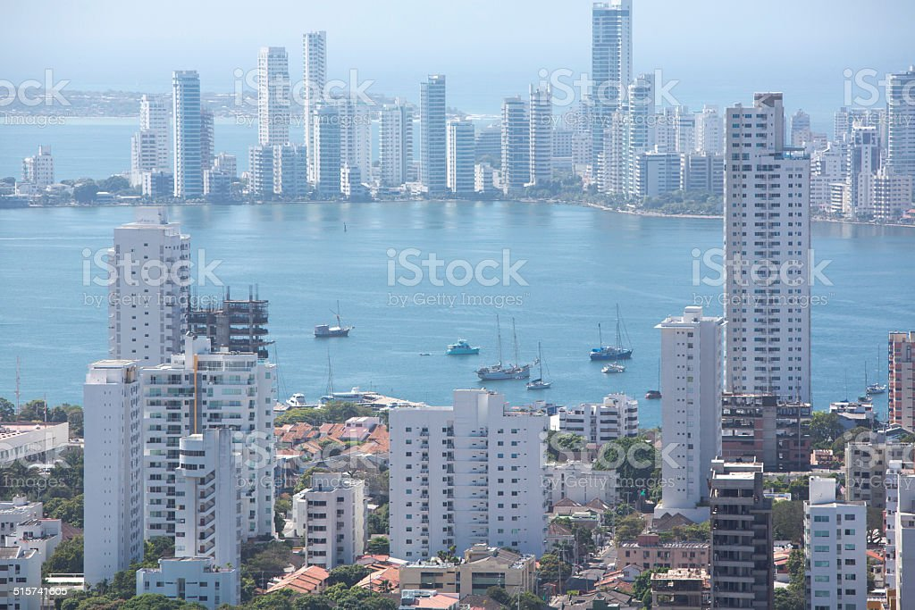 Bocagrande neighborhood of Cartagena stock photo