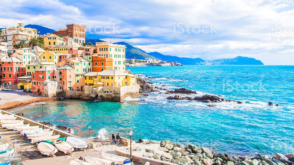 Boccadasse, a district of Genoa in Italy stock photo