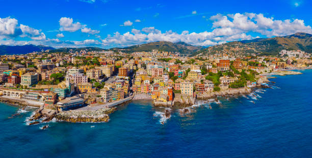 Boccadasse neighborhood of Genoa aerial view stock photo