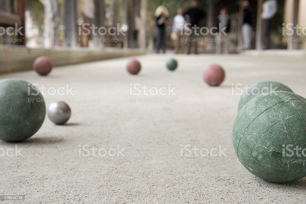 bocce ball game stock photo