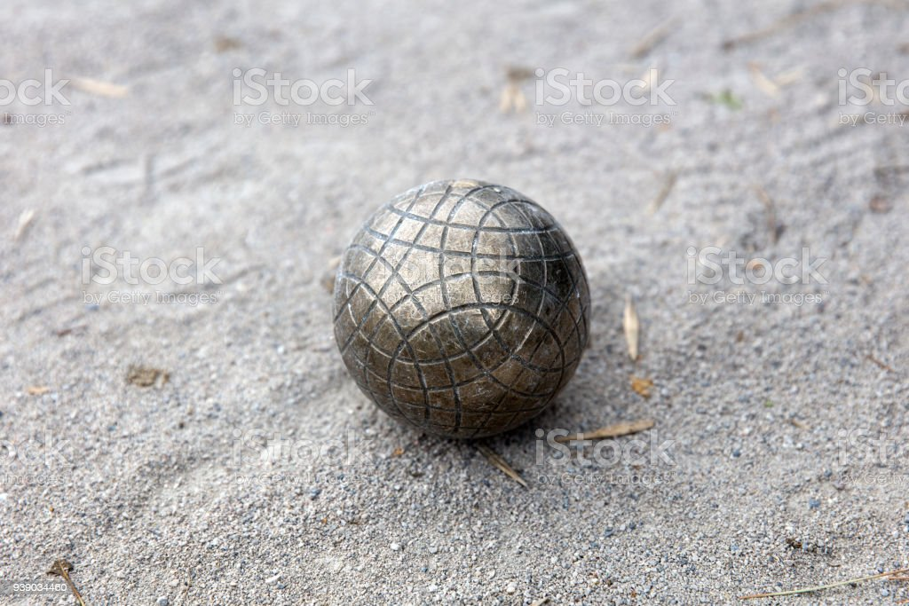 Bocce ball on the ground stock photo
