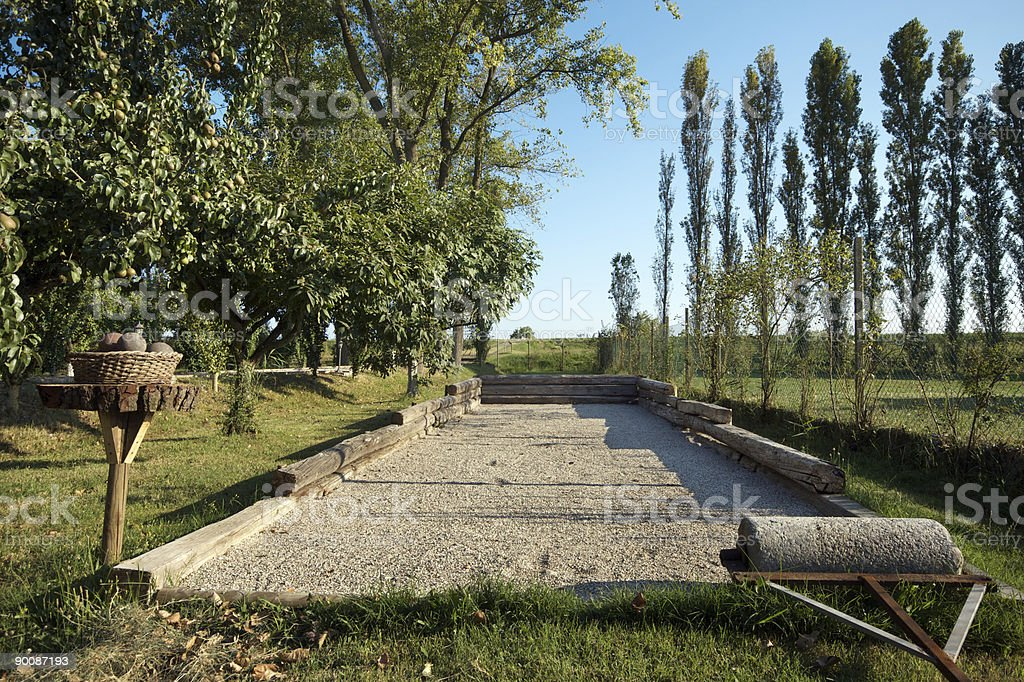 Bocce game playground in the river Po delta countryside royalty-free stock photo