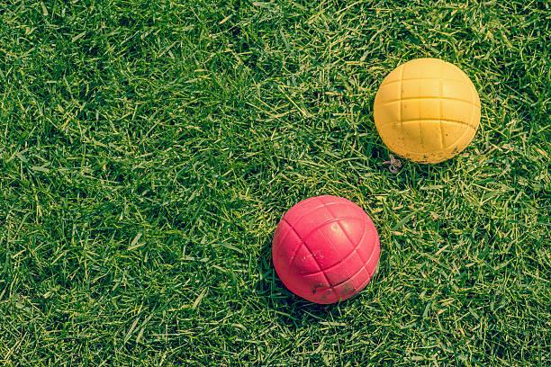 Boccia garden game on the lawn stock photo