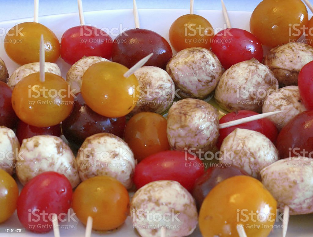 Bocconcini and cherry tomato skewer stock photo