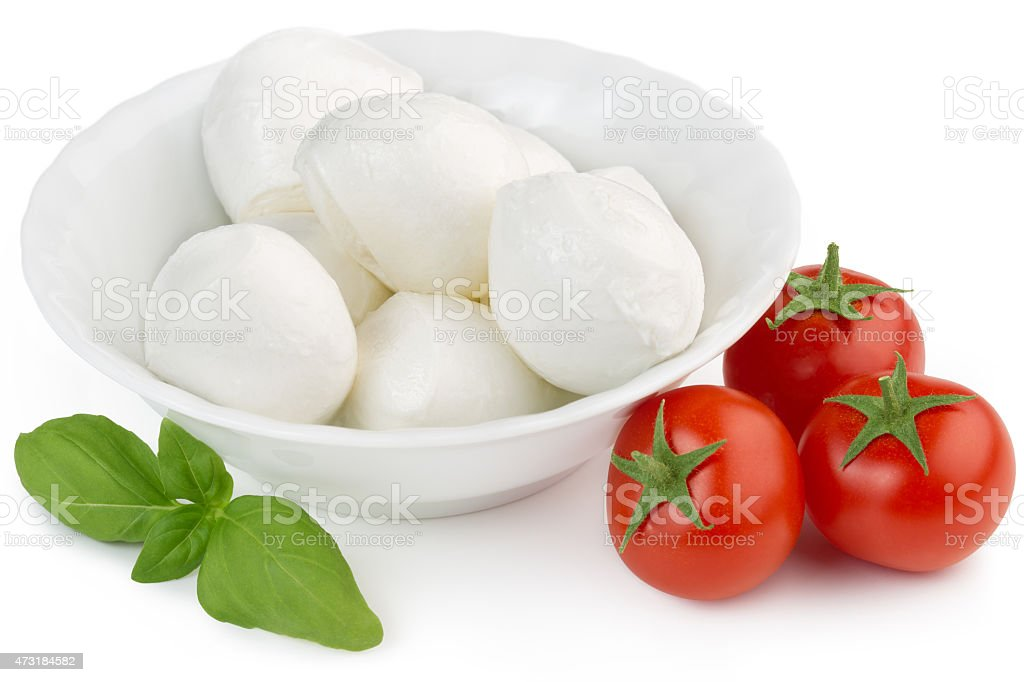 bocconcini, cherry tomatoes and basil stock photo