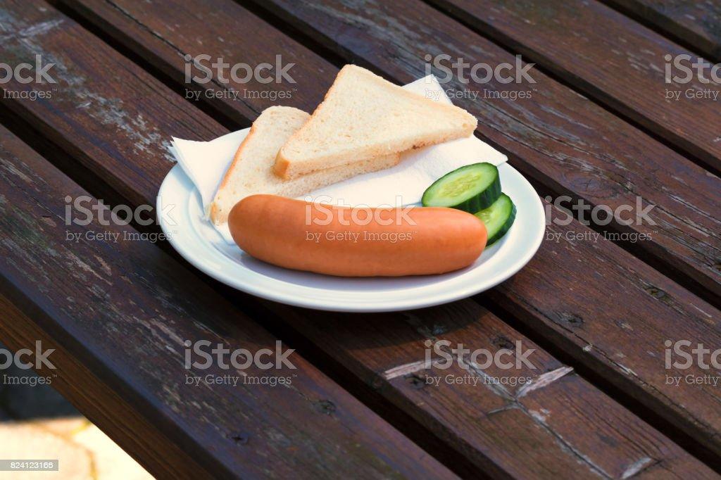 Bock Wurst auf einem Teller – Foto