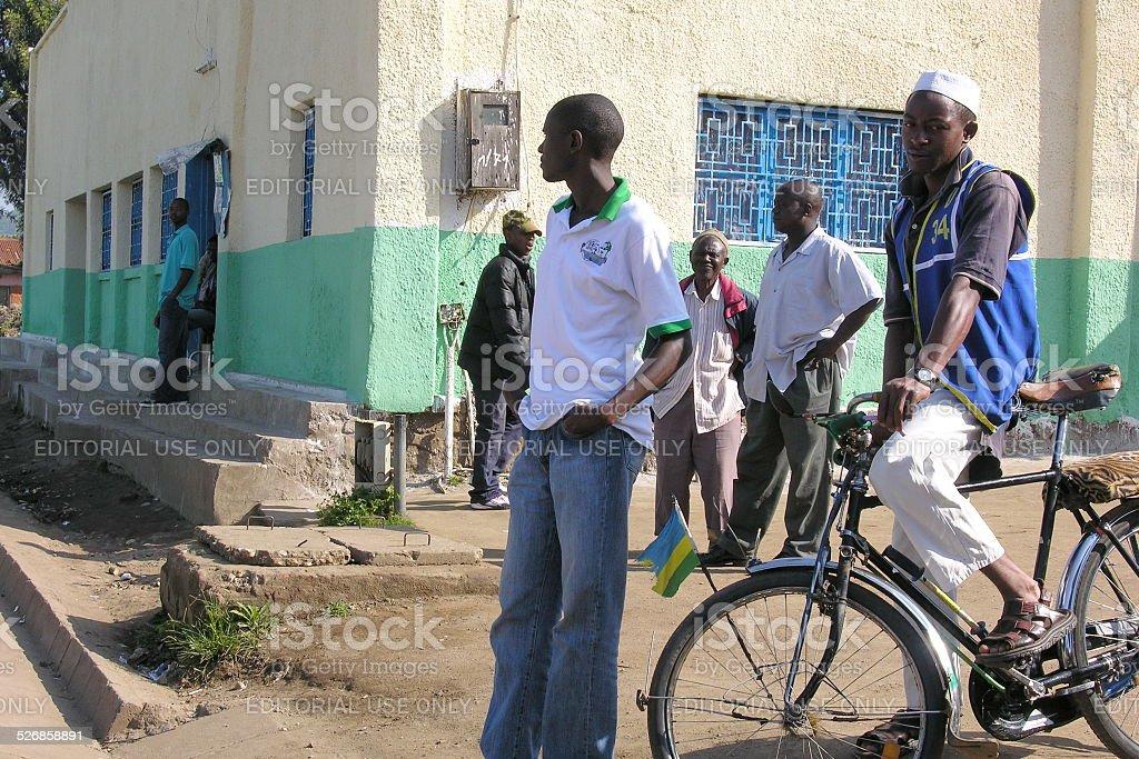 Boda (bicycle cabby) waits his customers in Gisenyi, Rwanda. stock photo