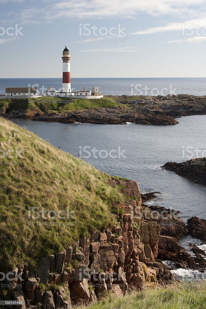Boddam Lighthouse and Cliffs royalty-free stock photo