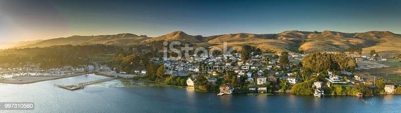 Aerial panorama of Bodega Bay, California at sunset.