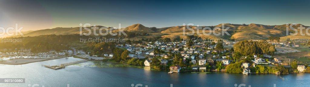 Bodega Bay Houses and Marina at Dusk - Aerial Panorama stock photo