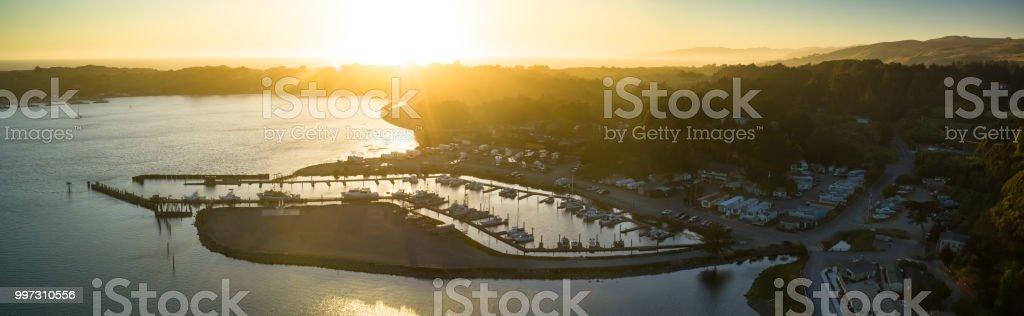 Bodega Bay Marina at Sunset - Aerial Panorama stock photo