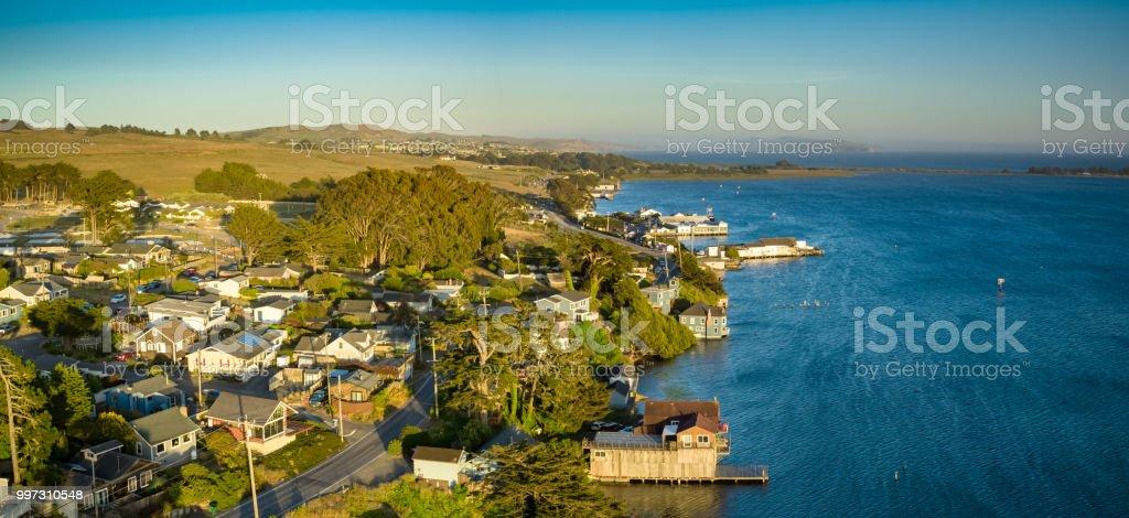 Bodega Bay Town at Sunset - Aerial Panorama stock photo