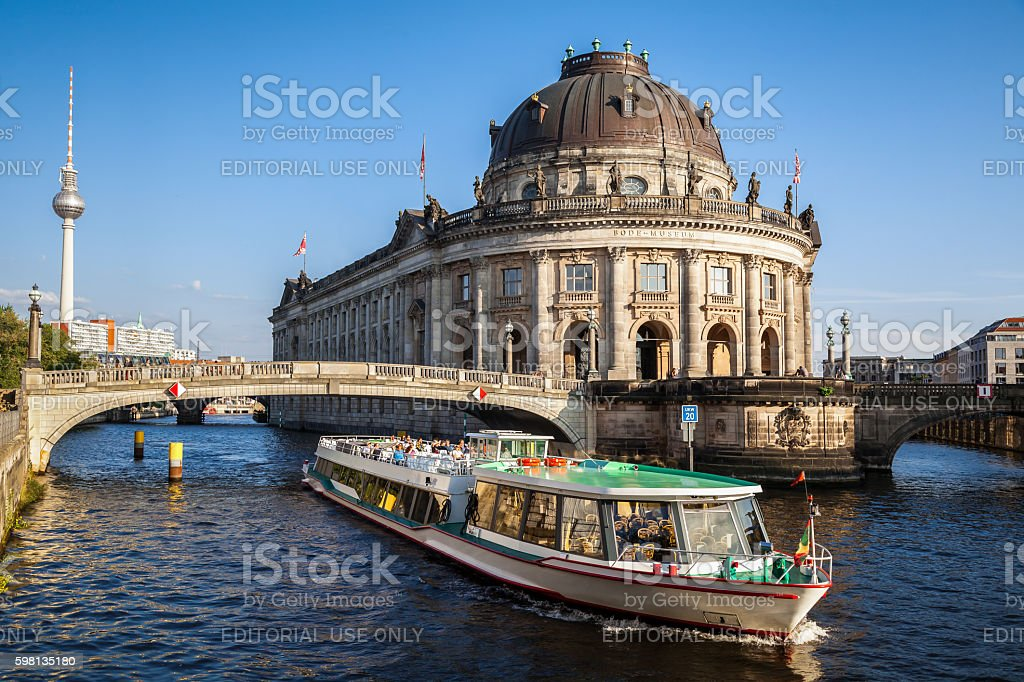 Bodemuseum on Museum Island and TV tower, Berlin, Germany stock photo