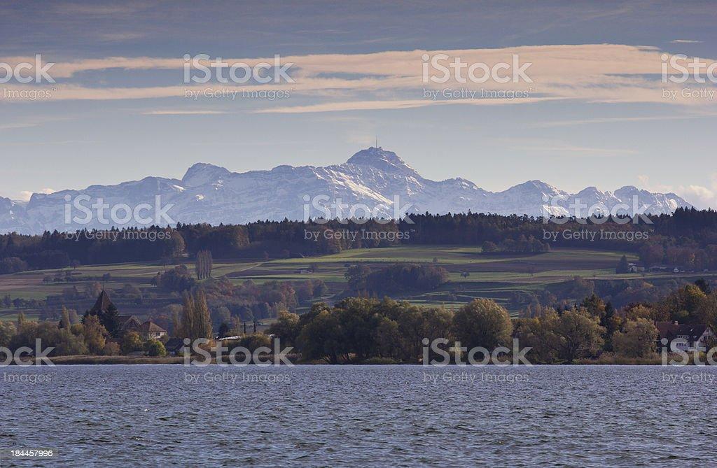 Bodensee Blick auf Alpen stock photo