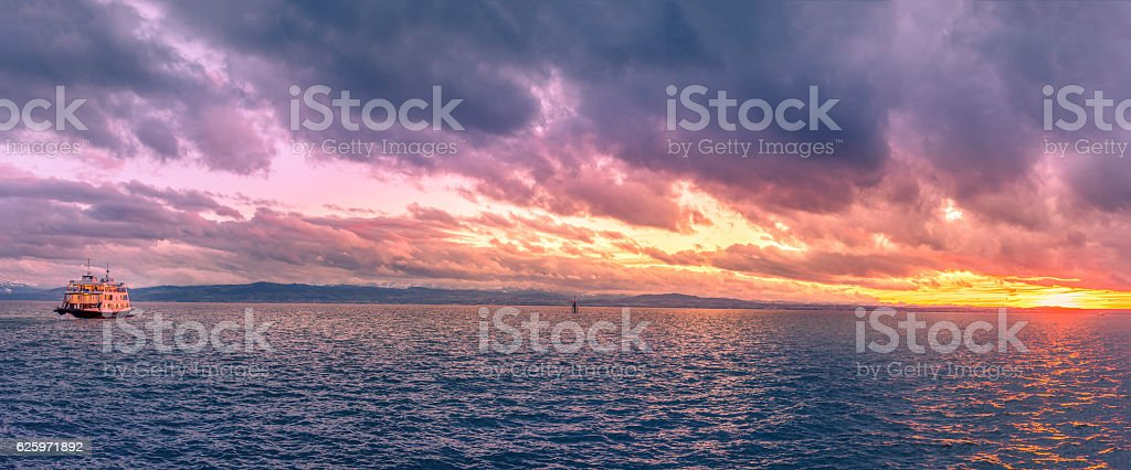 Bodensee lake panorama at sunset – Foto