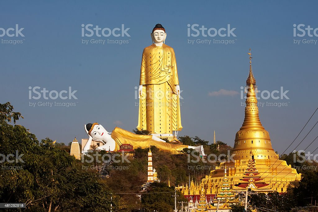 Bodhi Tataung Standing Buddha is the second tallest statue stock photo