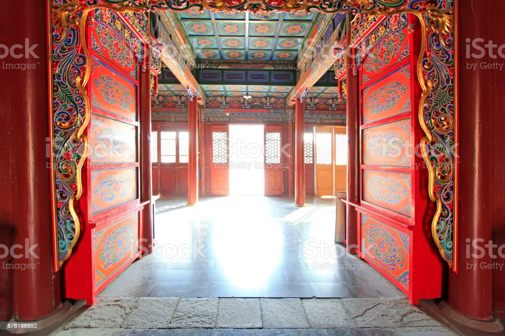 Bodhi temple passageway in the Dazhao Lamasery, on February 6, 2015, Hohhot city, Inner Mongolia autonomous region, China stock photo