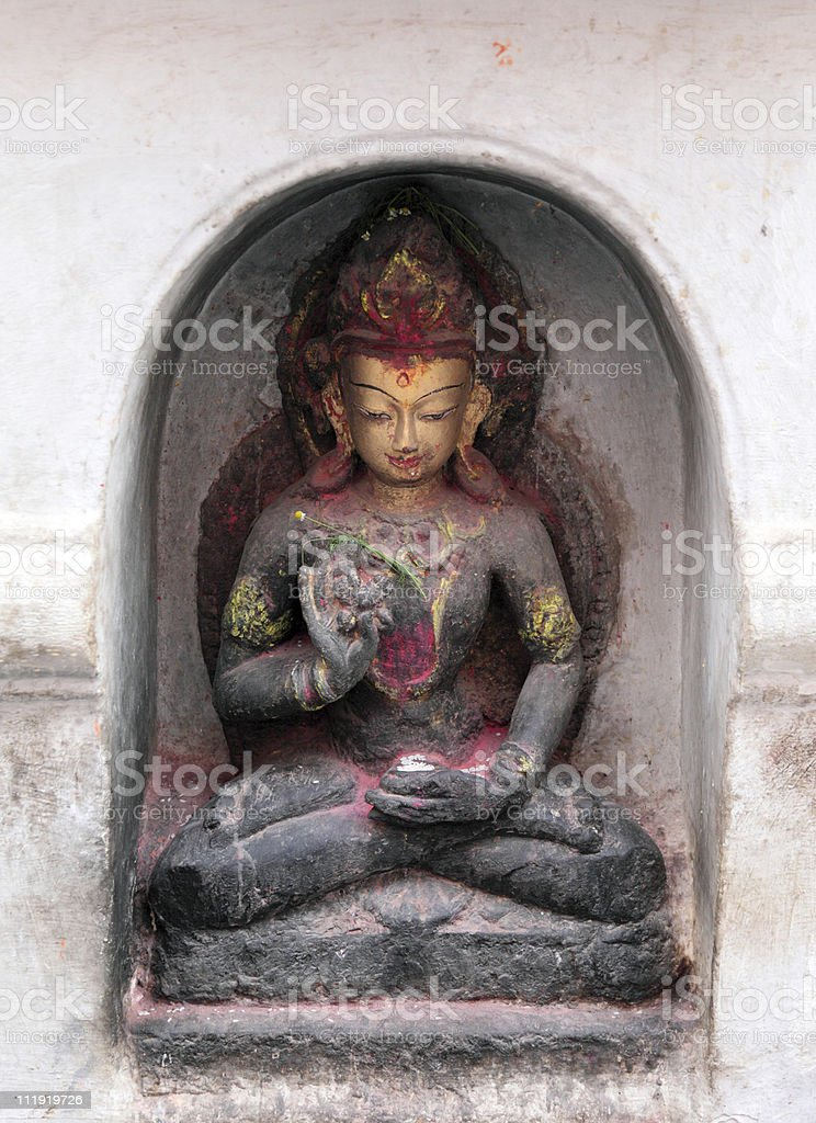 Bodhisattva statue Swayabunath Stupa Nepal stock photo