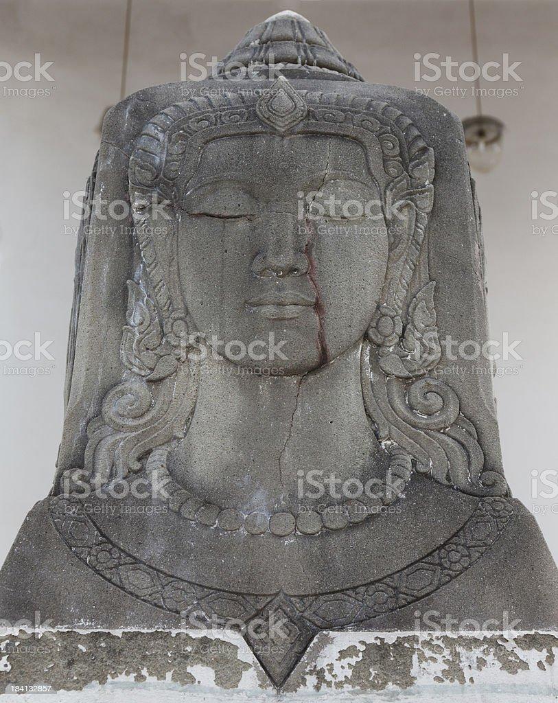 Bodhisattva stone face stock photo