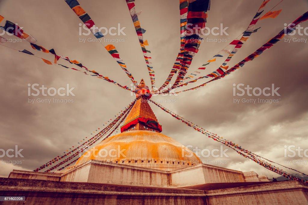 Bodhnath stupa in Kathmandu valley, Nepal stock photo
