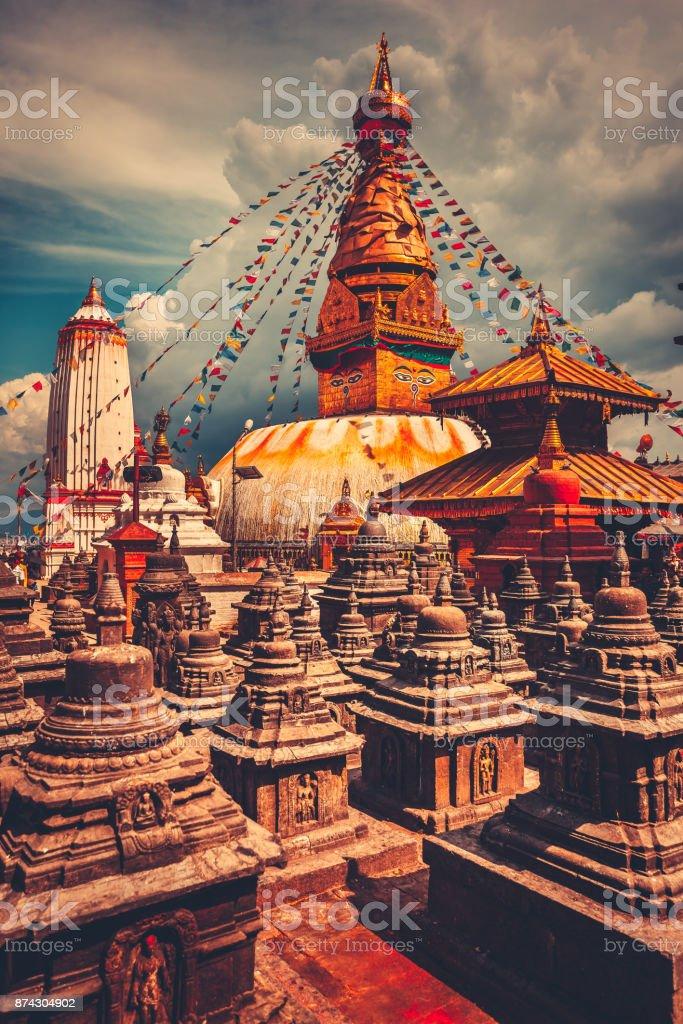 Le stûpa de Bodhnath dans la vallée de Katmandou, Népal photo libre de droits