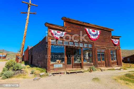Bodie state historic park, California, United States of America - August 12, 2016: Old Boone Store and Warehouse of the 1800s, in Bodie state historic park.