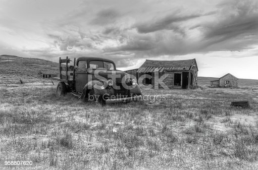 Bodie, California- July 15,2014: an abandoned pick-up truck in a ghost town