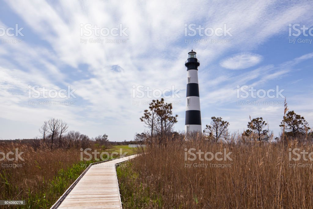Bodie Island Lighthouse and pathway stock photo