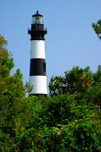 Bodie Island lighthouse peeking above trees on blue sky day.