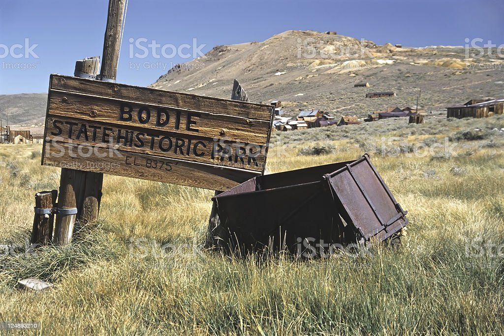 Bodie State Park Entrance Wood Sign stock photo