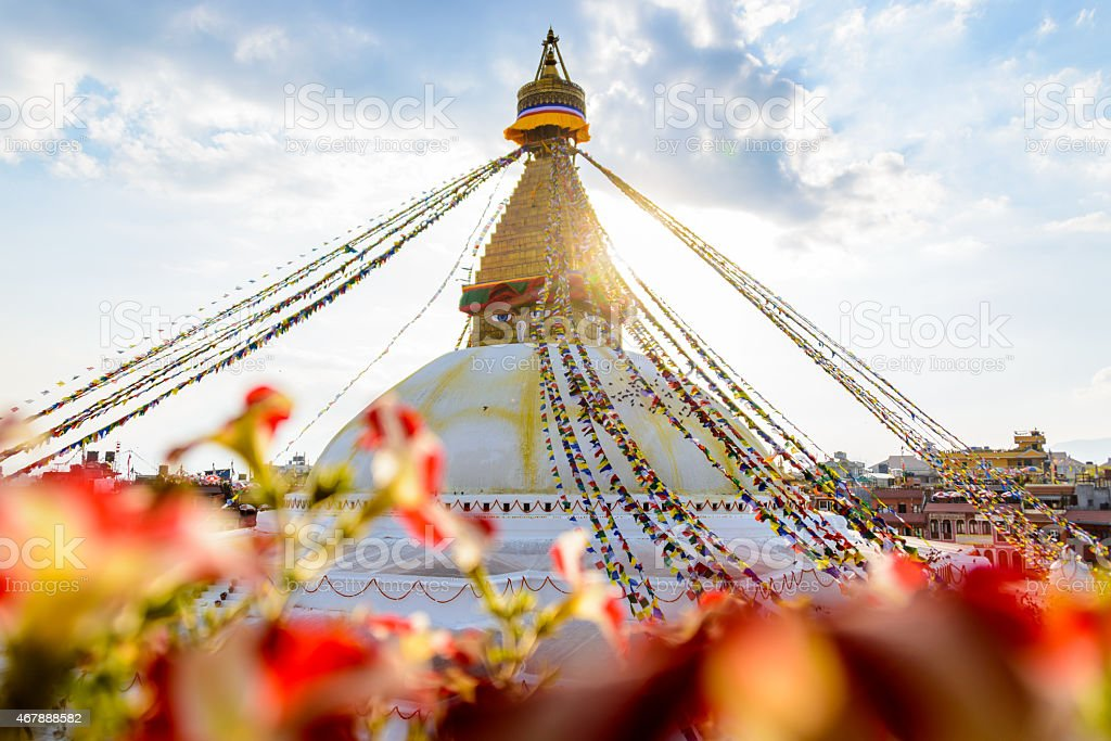 Bodnath stupa in Kathmandu stock photo