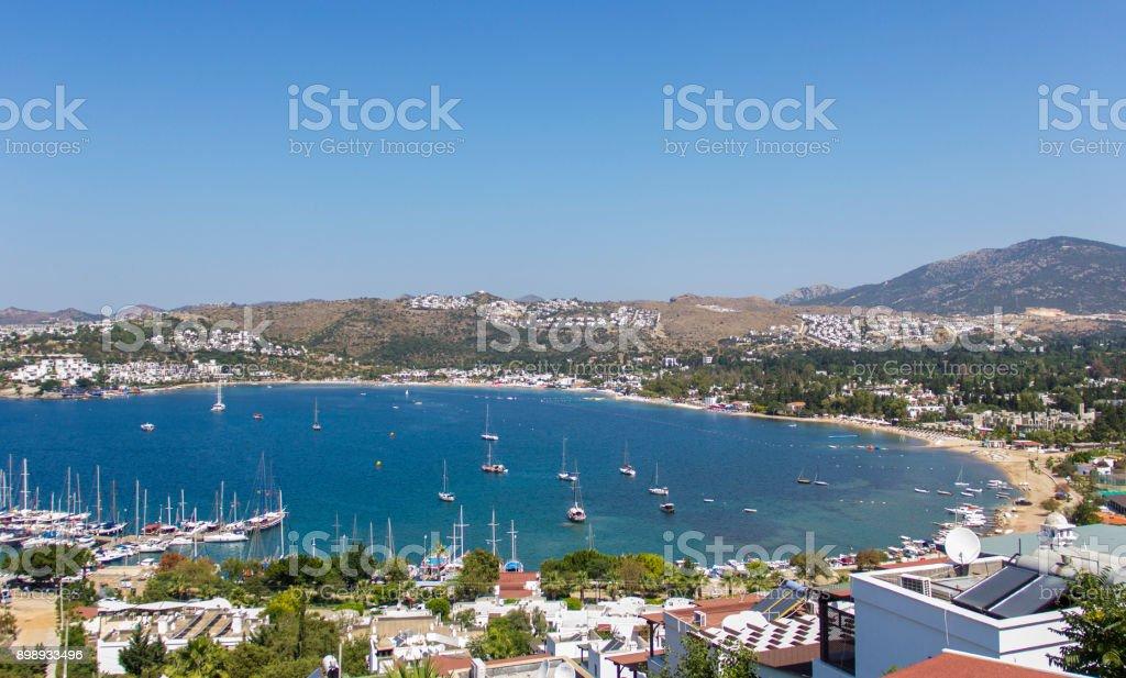Bodrum Bitez plaj manzarası stok fotoğrafı