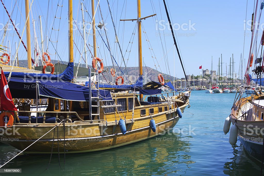 Bodrum castle and sailing boats, Turkey royalty-free stock photo