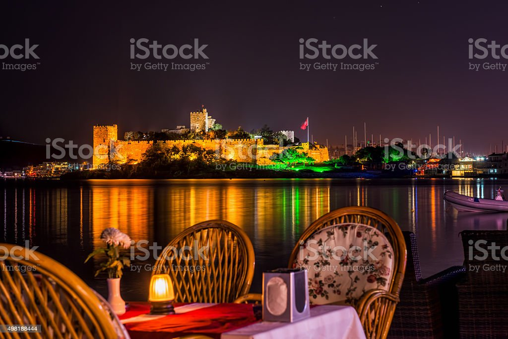 Bodrum castle at night stock photo
