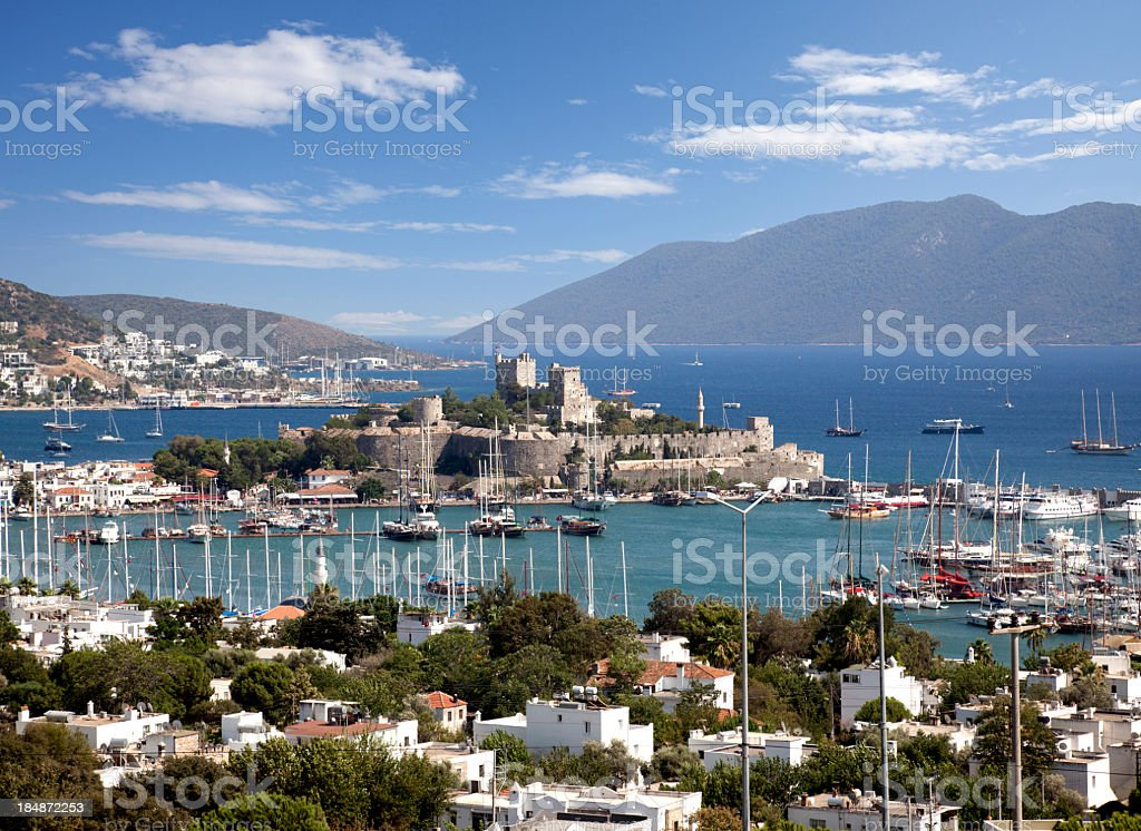 Bodrum castle in Turkey in center of bay stock photo