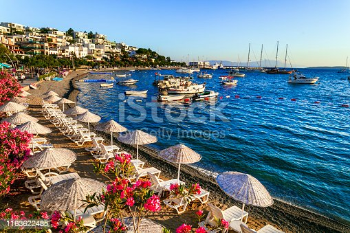 scenery of Bodrum, popular touristic place for summer vacation in Turkey