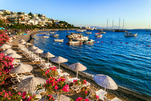 Bodrum, Turkey -  summer holidays. great beaches of old town scenery of Bodrum, popular touristic place for summer vacation in Turkey turkish stock pictures, royalty-free photos & images