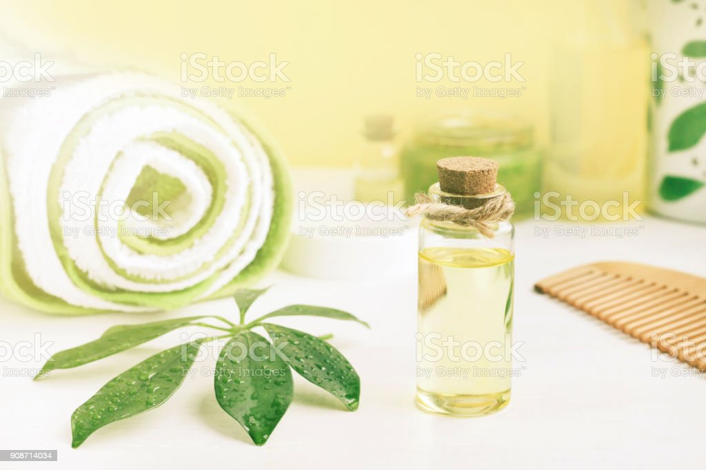 body and hair care organic cosmetic products stock photo