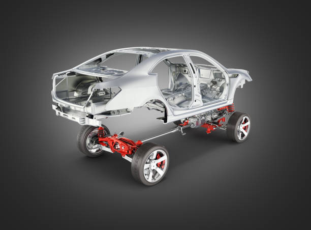 Body and suspension of the car with wheel and engine Undercarriage with bodycar in detail isolated on black gradient background 3d stock photo