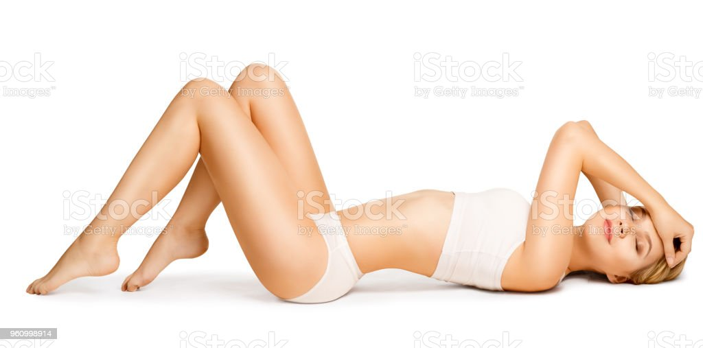 Body Beauty, Slim Woman in Cotton Underwear Lying Down on Back, Happy Dreaming Girl White Isolated stock photo