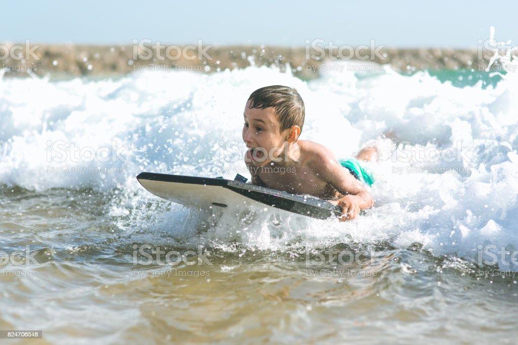 Body board boy stock photo