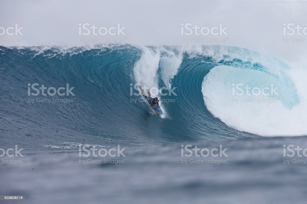 Body boarder on a big wave stock photo