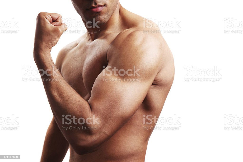 Body builder flexing biceps royalty-free stock photo