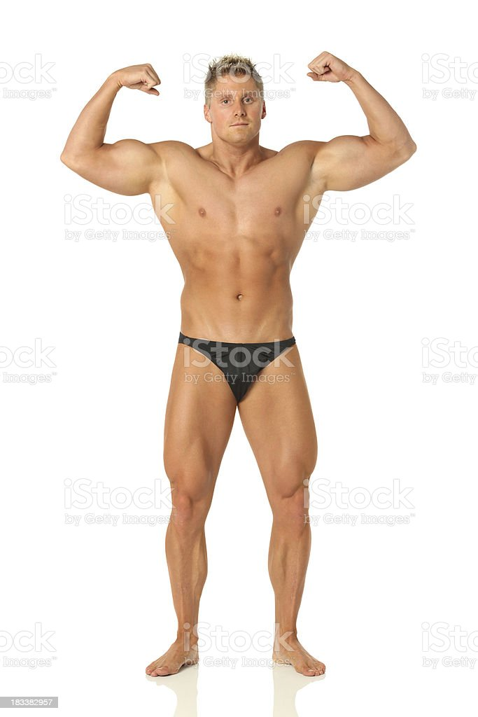 Body builder male flexing royalty-free stock photo